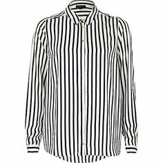 Navy and white striped long sleeve shirt £35.00
