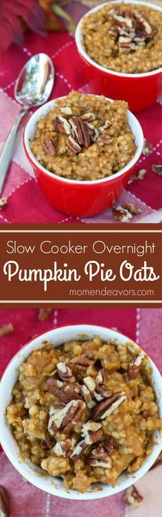 Slow Cooker Pumpkin Pie Overnight Oatmeal - a healthy, delicious breakfast recipe that cooks overnight in your slow cooker. A perfect pumpkin spice fall recipe!