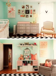 Love these colors together. I'm hoping to do this in my living room. I can't paint the walls, but I painted my sewing desk mint green. I want to get a bookshelf or something and paint it coral. I have green and blue in my couch pillows. And my couch and chair are grey.