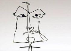 Wire Sculpture of a Man's Face. By Alexander Calder.