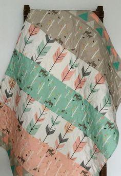 Baby Quilt, Birch Deer Forest, Woodland, Birch Trees, Mod, Coral, Mint, Gray, Baby Blanket, Baby Bedding, Crib Bedding, Nursery Quilt