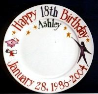 """10"""" round plate. Reach for the stars & celebrate birthday and graduate. Provide name, birthdate & year. FREE SHIPPING !"""