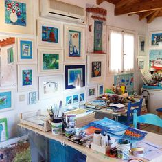 Peek inside my small studio in the backstreetes of the village - south Peloponnese, Greece💙 My Art Studio, Small Studio, The Beautiful South, Red Geraniums, Greek House, Citrus Trees, Walled Garden, English Artists, Holiday Accommodation
