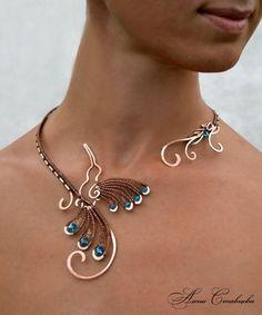 Necklace, colobri, hummingbird, Jewelry, copper jewelry, bird, Copper, jewelry set, collar