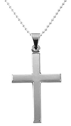 New Solid 14k White Gold Christian Cross Pendant 1mm Bead Chain Necklace >>> Click image to review more details.