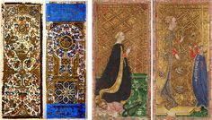 Top: The popular Rider-Waite deck was first published in 1909. Above: Two hand-painted Mamluk cards from Turkey (left) and two cards from the Visconti family deck (right), both circa 15th century.