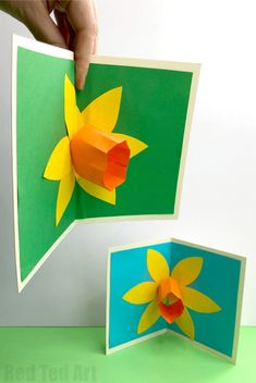 Pop Up Daffodil Card - perfect as a St David's Day Card or Mother's Day Card (or even Teacher appreciation Cards). How to make a pop up flower card easily for kids. Love this easy pop up daffodil art Pop Up Daffodil Card - Red Ted Art Spring Crafts For Kids, Paper Crafts For Kids, Easy Crafts For Kids, Easy Diy Crafts, Fun Diy, Fun Crafts, Pop Up Flower Cards, Pop Up Cards, Daffodil Craft
