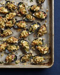 Creamed Mussels on the Half Shell // More Seafood Recipes: http://www.foodandwine.com/fish-recipes #foodandwine