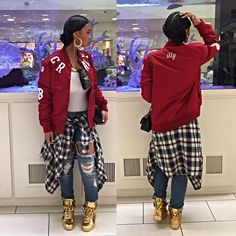 India Westbrooks Dope Swag Bad Baddest Bitch Pretty Girl Swag Instagram Insta Fame Red Customised Bomber Baseball Jacket Ripped Denim Jeans Plaid Checkered Shirt Tied Around Waist Gold Sneakers High Top Tops Trainers Footwear Ill Urban Streetwear Fashion Style Trend Hip Hop Trend Stylish