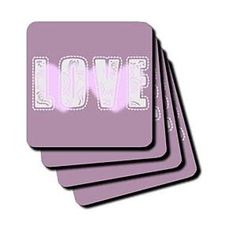 Pink Hearts Love Art- Inspirational Words- Valentines Day - Coasters