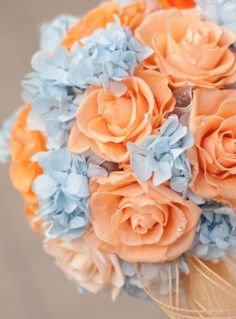 Gorgeous bouquet made up of light blue hydrangeas and pastel orange roses via Sarah's Touch. More Beautiful Flowers Like This! Orange Pastel, Blue Peach, Orange Flowers, Orange Sorbet, Coral Roses, Teal Coral, Pastel Roses, Periwinkle Blue, Spring Wedding Colors