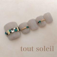 New nails green white st. Cute Toe Nails, Fancy Nails, Love Nails, Pretty Nails, Pedicure Designs, Manicure E Pedicure, Toe Nail Designs, 3d Nail Art, Nail Arts