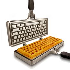 Chris Dimino, Designer is raising funds for The Keyboard Waffle Iron on Kickstarter! The Keyboard Waffle Iron IS HERE! By popular demand, the internet's dream of keyboard-shaped waffles is now a reality. Kitchen Tools, Kitchen Gadgets, Kitchen Stove, Kitchen Things, Cooking Gadgets, Cooking Utensils, Kitchen Dining, Kitchen Decor, Geeks
