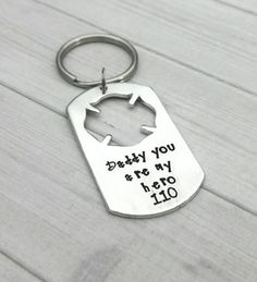 Firefighter keychain, hand stamped firefighter keychain, personalized keychain