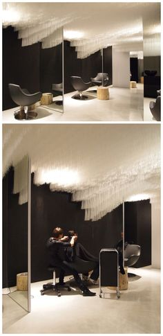 HAIR STUDIOS! Boa Hairdresser Salon by Claudia Meier, Zurich – Switzerland  March 22nd, 2013.  Another cool in store design of hairdresser salon.  using many row of white line stuff to fill up all area of  the ceiling and the floor also using white color to balance, but combine the wall with black color. the mirror it used the length all are from ceiling to the floor to create a big space by using this way and make the salon extremly looks modern and fashion. Studios, Hair And Beauty Salon, Salon Style, Hair Studio, Salon Design, Design Furniture, Zurich, Beauty Shop, Retail Design