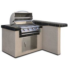 Cal Flame LBK401 Outdoor BBQ Island with 4-Burner Grill/Single Access Door/4-Feet Base * To view further for this item, visit the image link.