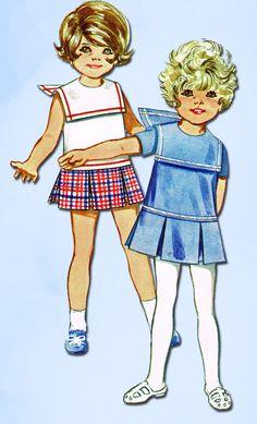 1960s Vintage Butterick Sewing Pattern 5261 Toddler Girls Sailor Dress Size 2…