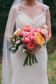 bright fluffy bouquet, photo by Caroline Fontenot http://ruffledblog.com/rustic-chic-georgia-wedding #flowers #bouquets #wedding