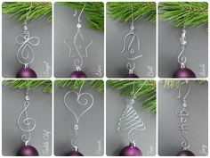 TEN Beaded Christmas Ornament Hooks  Wire Ornament Hangers with