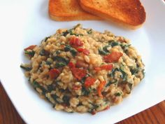 Risotto with Bacon, Caramelized Onions, and Spinach