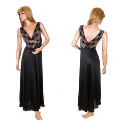 #VintageNightgown #SheerNightgown #IllusionLace #DeepVBust #BlackNightgown #FullLengthNightgown Sweeping #VintageLingerie #SomeLikeItUsed #Lingerie #Negligee
