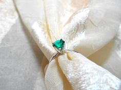 Elegant Emerald Solitaire Engagement Ring Classic by NorthCoastCottage, $239.00 #handmade #jewelry #etsy #bridal
