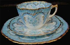 Pretty Blue and Gold Rimmed Tea Cup And Saucer Trio Set Tea Cup Set, My Cup Of Tea, Tea Cup Saucer, Tea Sets, Cup Cup, Vintage Cups, Vintage Tea, Vintage China, Vintage Dishes