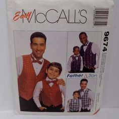 Do you love to sew and want  a treat for your 2 sons and or your son and their father? Sew them matching vests and bow ties with this pattern from McCalls!