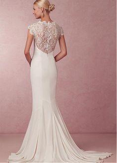 2230001ee2 Magbridal Elegant Chiffon   Lace High Collar Neckline Mermaid Wedding Dress