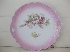 Pink Edge Floral Cake Plate-vintage flowers, vintage cake plate