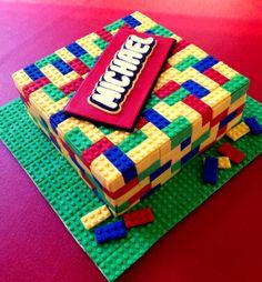 Lego Cake made with marshmallow fondant. Make your own instructions at: http://caketalkblogger.blogspot.com/2014/02/how-to-make-lego-cake.html