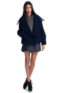 Cute off-shoulder coat! Kenzo Waffle Wool 2-in-1 Jacket
