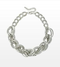 Chain-y days! This large chain necklace is perfect for adding some edge to your look! Style Wish, Style Me, Jewels, Chain, Bracelets, Pretty, Silver, Clothes, Beautiful