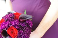 Red and Purple Wedding Colors Purple Wedding, Wedding Colors, Wedding Ideas, Orchid Bridal Bouquets, Orchids, Fall, Flowers, Red, Autumn