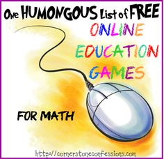 One Humongous List of Free Online Education Games for Math - Cornerstone Confessions