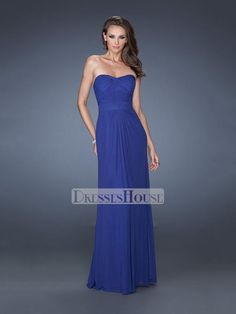 Elegant Strapless Sweetheart Crisscross Bodice Tonal Band Chiffon Prom Dress…