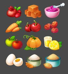 Game Ui Design, Food Design, 2d Game Art, Cute Food Art, Candy Art, Game Icon, Game Dev, Mobile Art, Food Icons