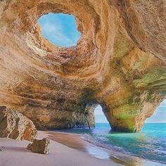 Secluded cave near Lagoa, Algarve, Portugal www. Secluded cave near Lagoa, Algarve, Portugal www. Algarve, Best Honeymoon Destinations, Travel Destinations, Travel Europe, Travel Pro, Places To Travel, Places To See, Places Around The World, Around The Worlds