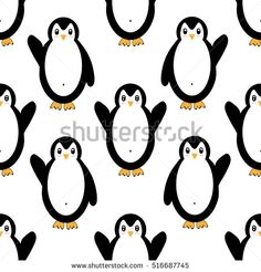 Seamless vector pattern with penguins
