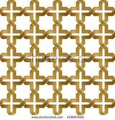 #Abstract #repeatable #pattern #background of #golden twisted bands. Swatch of gold zigzag bands in crosses form. Seamless pattern in modern style.