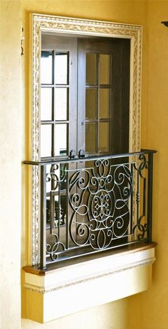 Top Modern Wrought Iron Doors for an Elegant Entry to Your House - All About Balcony Balcony Grill, Indoor Balcony, Iron Balcony, Balcony Window, Narrow Balcony, Balcony Privacy, French Balcony, Interior Balcony, Mirror Closet Doors