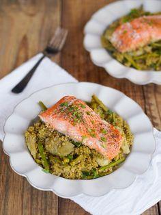 One pot salmon, pesto quinoa w/ spring vegetables