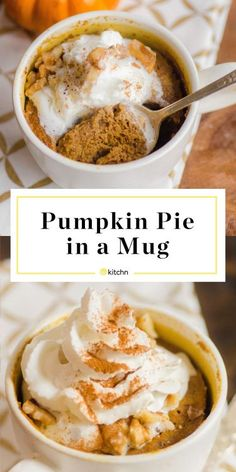 Pumpkin Pie Mug Cake Recipe: Pumpkin Pie in a Mug. When you need an autumnal treat but don't want to bake an entire pie. Go for pumpkin pie in a mug. It's easy, quick and can be made in the microwave. Microwave Mug Recipes, Pumpkin Pie In A Cup Recipe, Microwave Desserts, Canned Pumpkin Recipes, Microwave Food, Mug Cake Microwave, Just Desserts, Dessert Recipes, Mugs