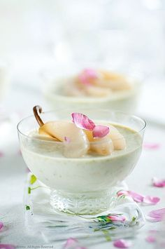 Pistachio Panna Cotta with Rose Poached Pears