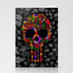 Floral sugar skull STATIONERY CARDS @pointsalestore Society6 #stationerycards #cards #skull #sugarskull #flowerrose #daisy #dayofthedead #mexico #mexican #diadelosmuertos #halloween #punisher #leaf #floral #zombie #horror