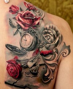 Old World Map Back Tattoo. Music  roses and a pocket watch tattoo done by Led Coult 40 Eye catching Rose Tattoos Tattoo vines Side tattoos