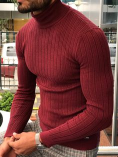 Eva Slim-Fit Turtleneck Knitwear in 5 Colors – brabion Ribbed Sweater, Men Sweater, Turtle Neck Men, Turtleneck Outfit, Colorful Hoodies, Mens Fall, Navy Sweaters, Knitwear, Slim