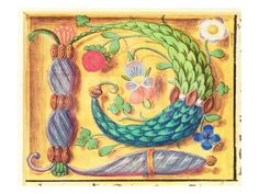 Illuminated letter `P' decorated with flowers, from a Book of Hours, c.1500 ジクレープリント at Art.com