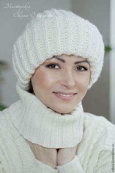 Шапка вязаная женская с отворотом - зимняя шапка,вязаная шапка,зимняя мода