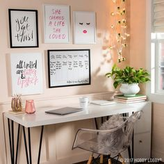 Inspiration starts with your workspace! Glam it up with fun focal pieces that help kick your motivation into high gear.